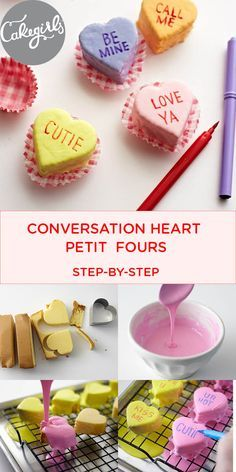Store bought cake and icing make for easy conversation heart petit fours | Cakegirls Projects