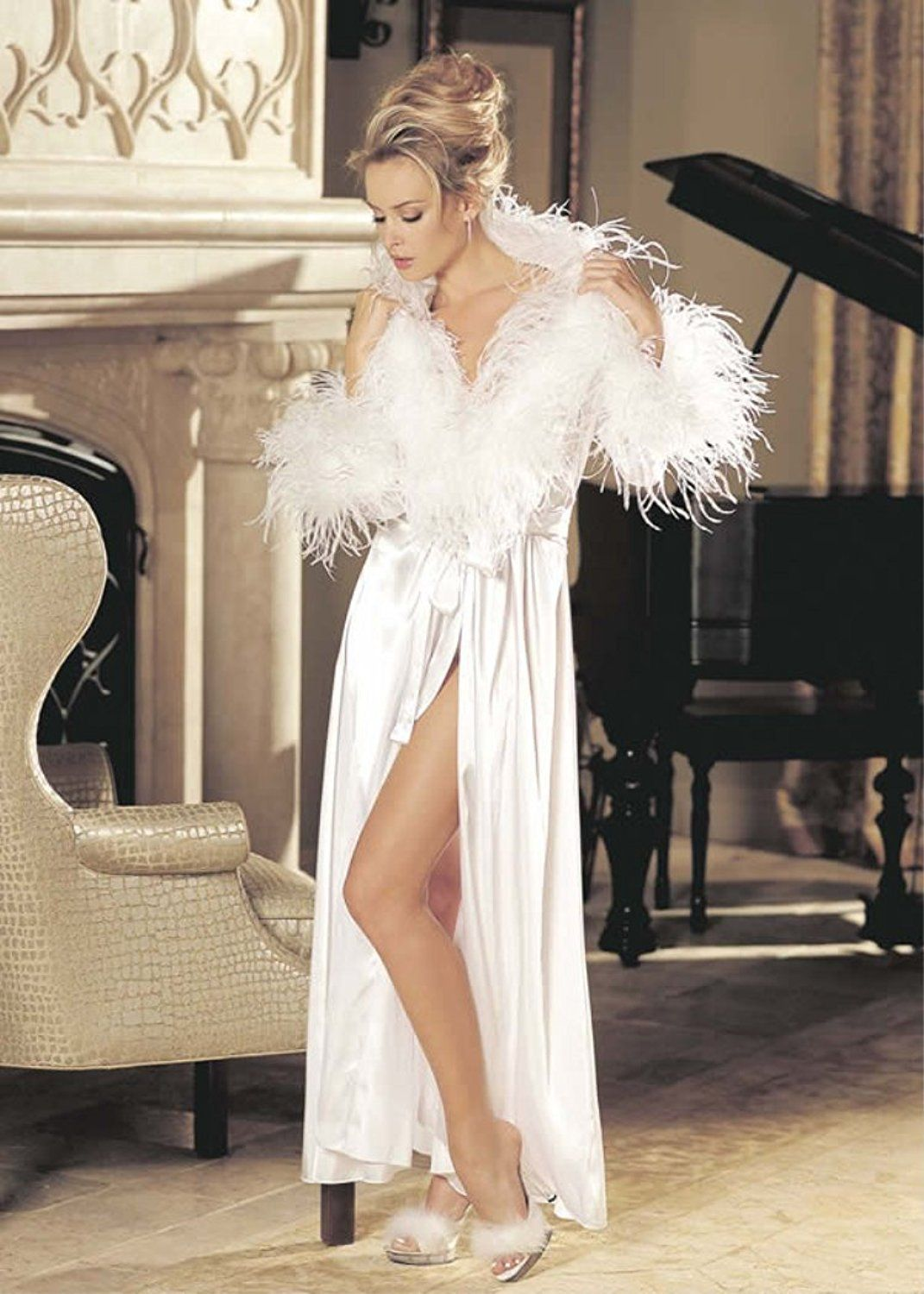 b9cf8253f2c Amazon.com  Shirley of Hollywood Charmeuse And Ostrich Feather Long  Dressing Gown 25062 (CHERRY RED