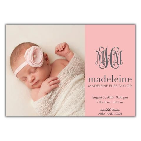 Monogram Birth Announcement Baby girl / Brown Paper Studios Baby - Baby Girl Birth Announcements
