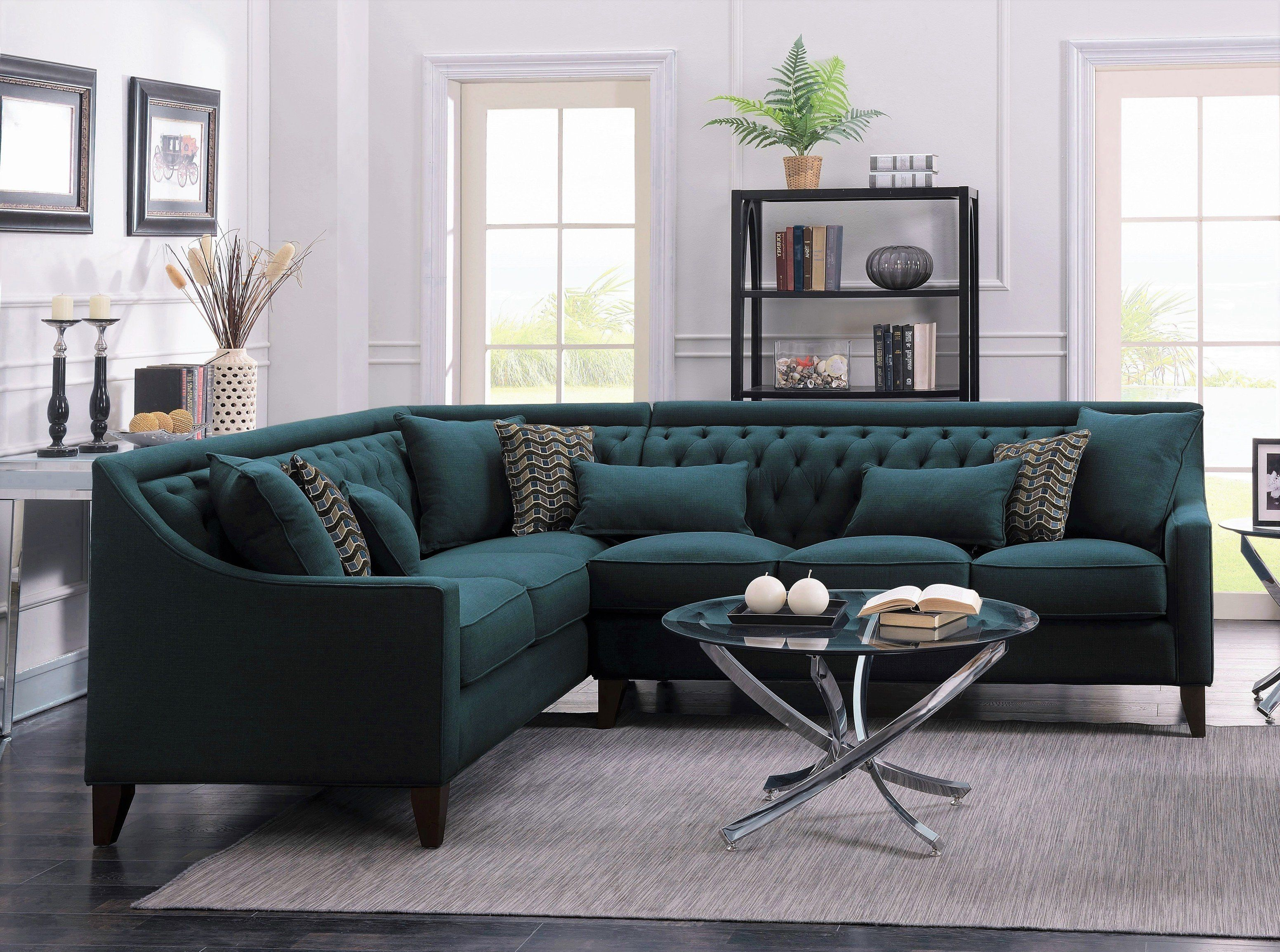 Iconic Home Aberdeen Linen Tufted Left Facing Sectional Sofa Teal Grey Sectional Sofa Sectional Sofa Living Room Furniture