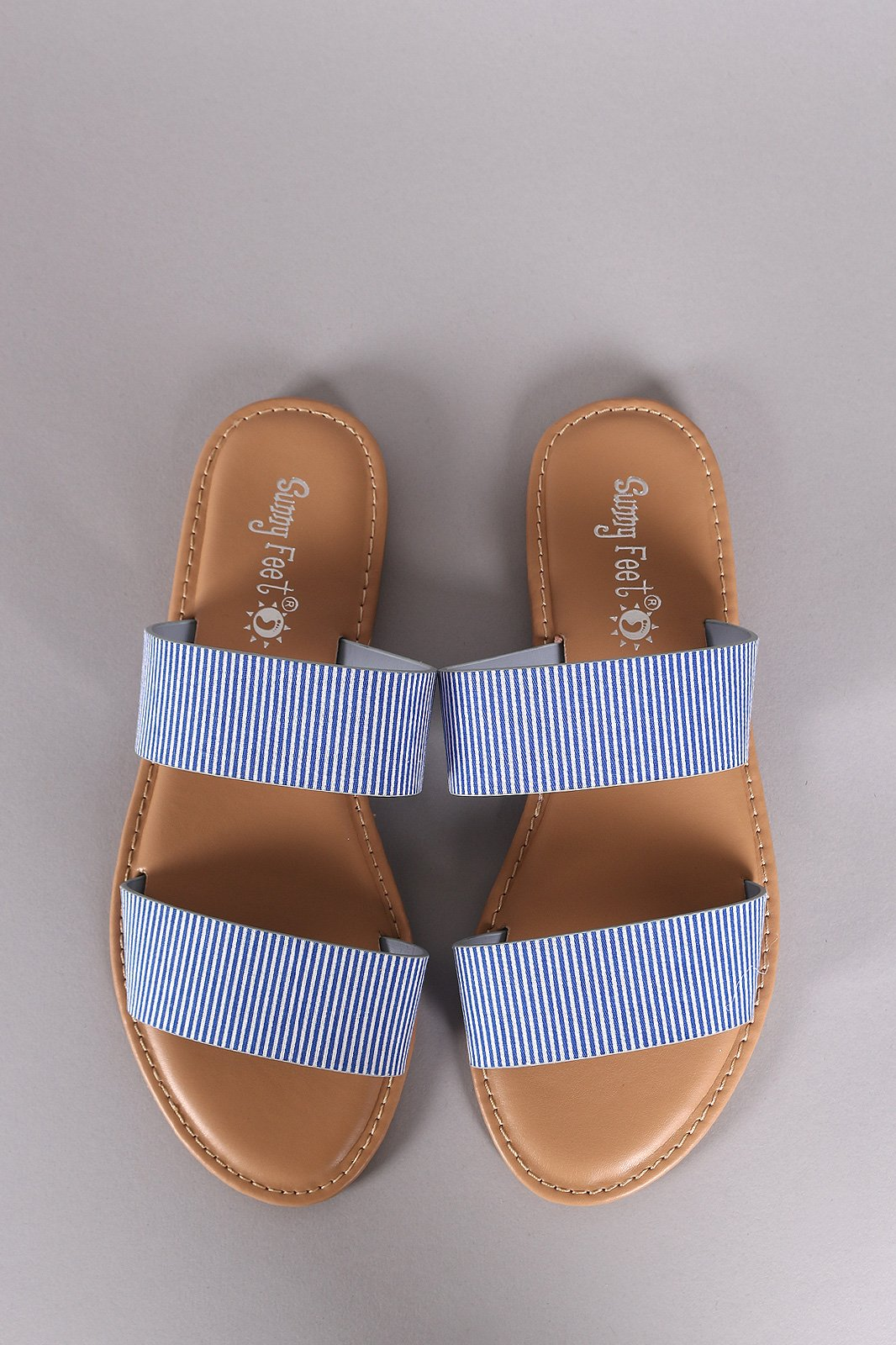 cfd12b5ca5fa Sunny Feet Printed Double Band Slide Flat Sandals in 2019