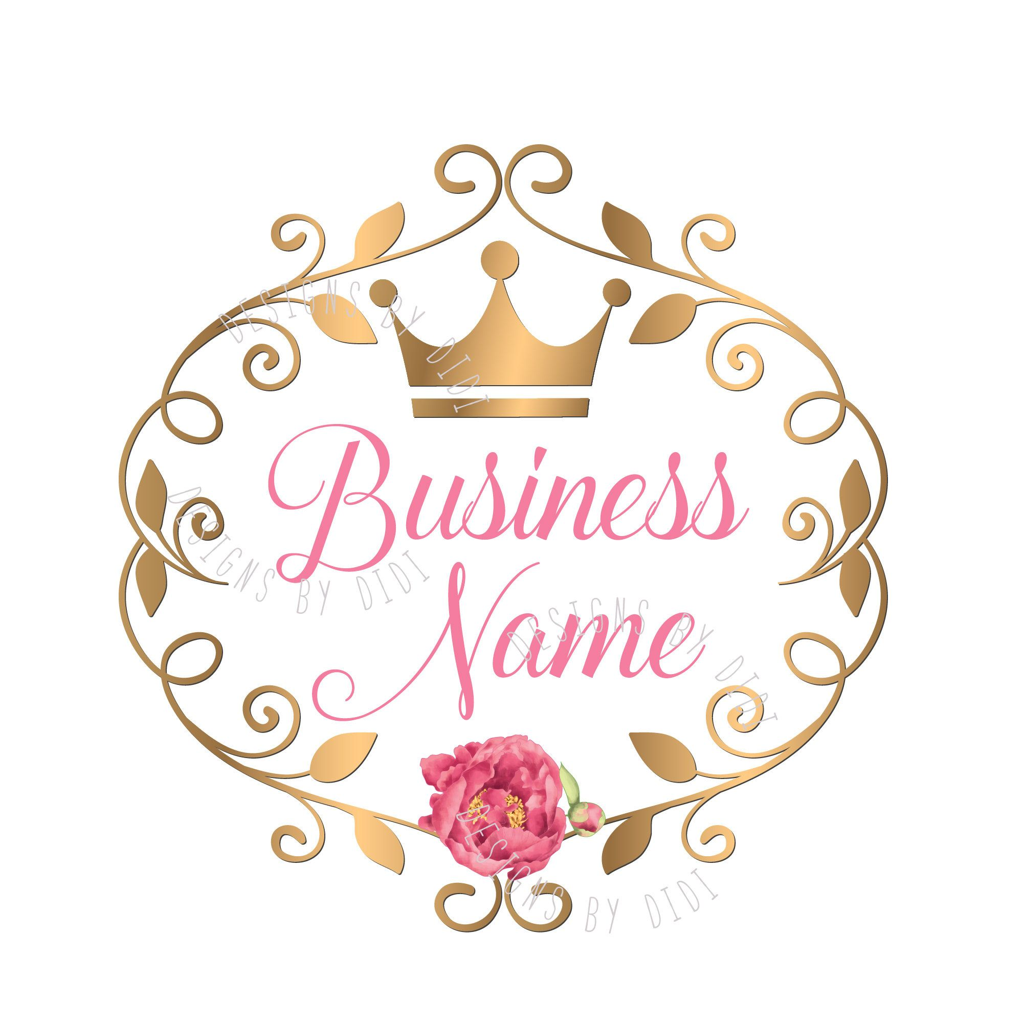 custom logo design pink gold logo flowers crown