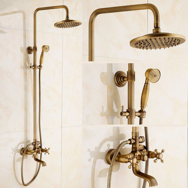 Exposed Antique Brass 8 Rainfall Shower Faucet With Hand Spray Tub