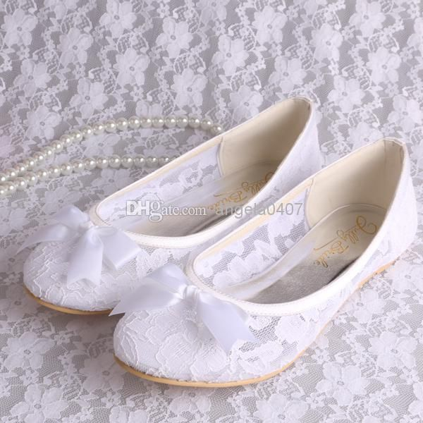 Free/Drop Shipping Small Size 34 White Lace Ballet Flats Bridal ...