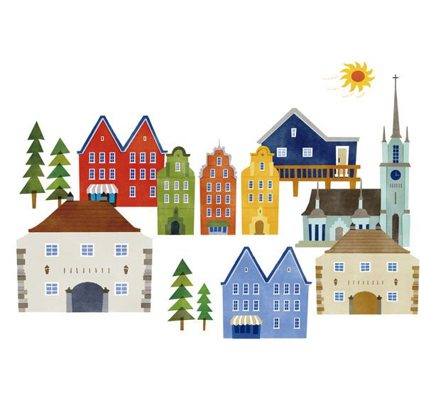 北欧イラスト Google 検索 街並み イラスト 北欧イラスト