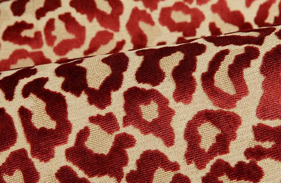 Leopard Print Upholstery Fabric In Raspberry Red Is A Velvet Jacquard With An Interesting Relief Texture And Great Sheen Modern Eye Catching