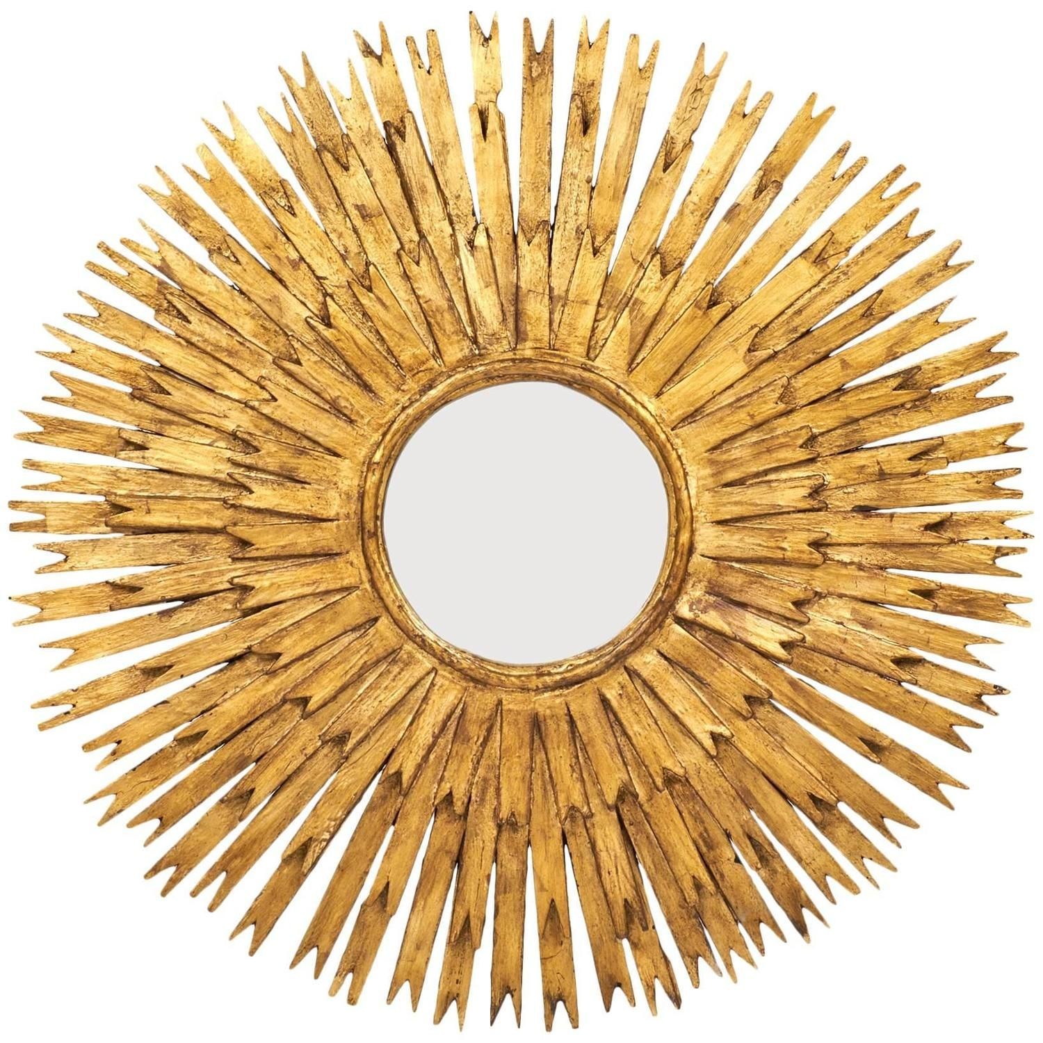 Vintage Large Gold Leaf Sunburst Mirror | Sunburst mirror, Leaves ...