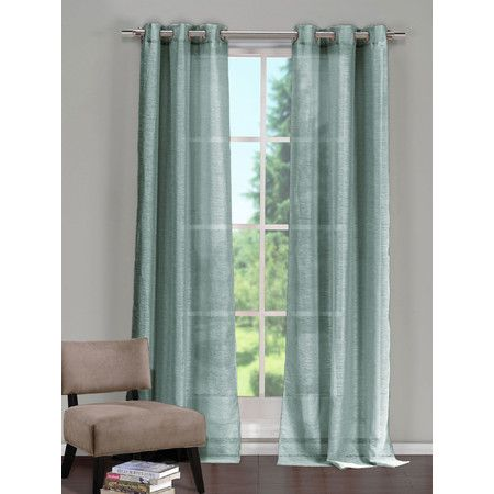 Sheer Grommet Curtain Panel In Spa Blue Set Of 2 With Images Panel Curtains Curtains Living Room Drapes