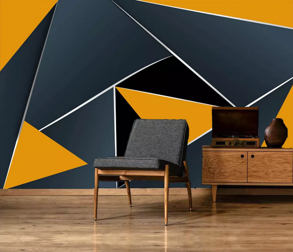 (1) 3D Black Yellow Geometric Triangle Wall Mural