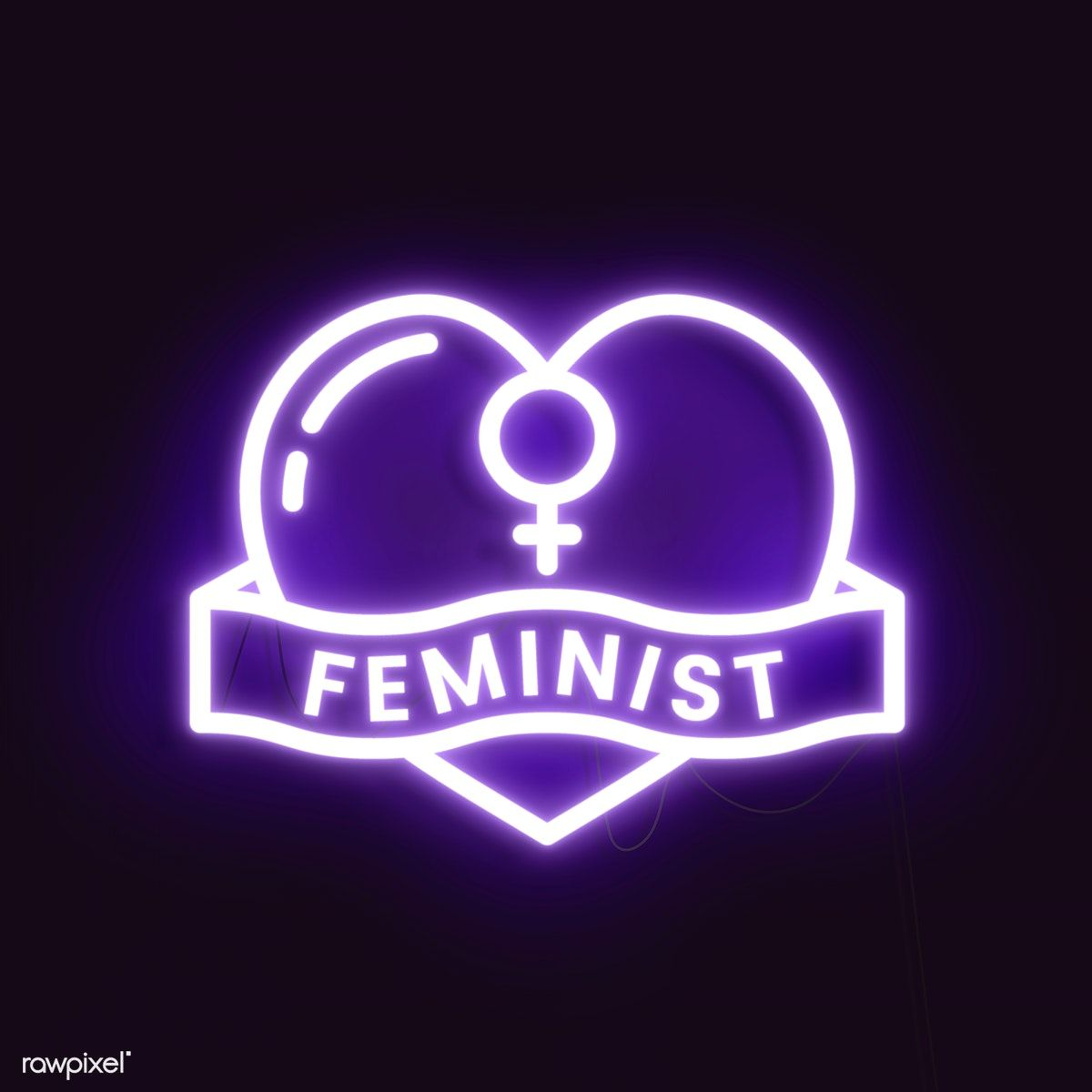Download premium illustration of Neon feminist sign design