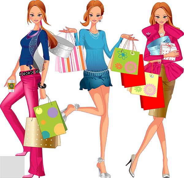 Vectores De Mujer Mona De Compras Anuncios De Ropa Mujer De Compras Dibujos De Moda
