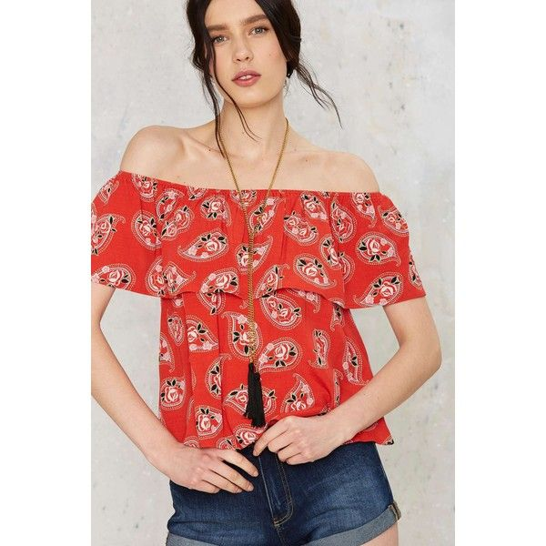 Sparrows Paisley Off-the-Shoulder Top ($48) ❤ liked on Polyvore featuring