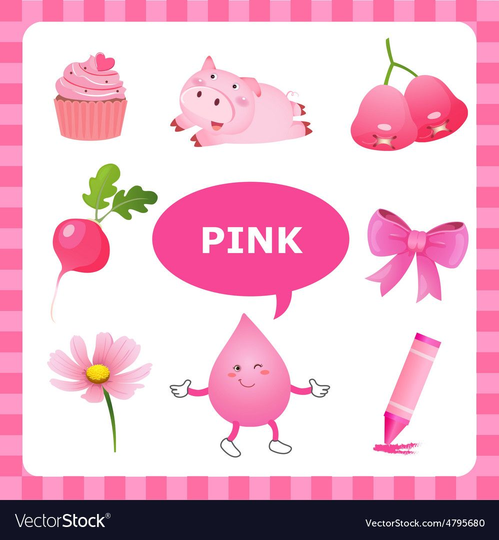 Learning Pink Color Vector Image On Color Vector Art Worksheets