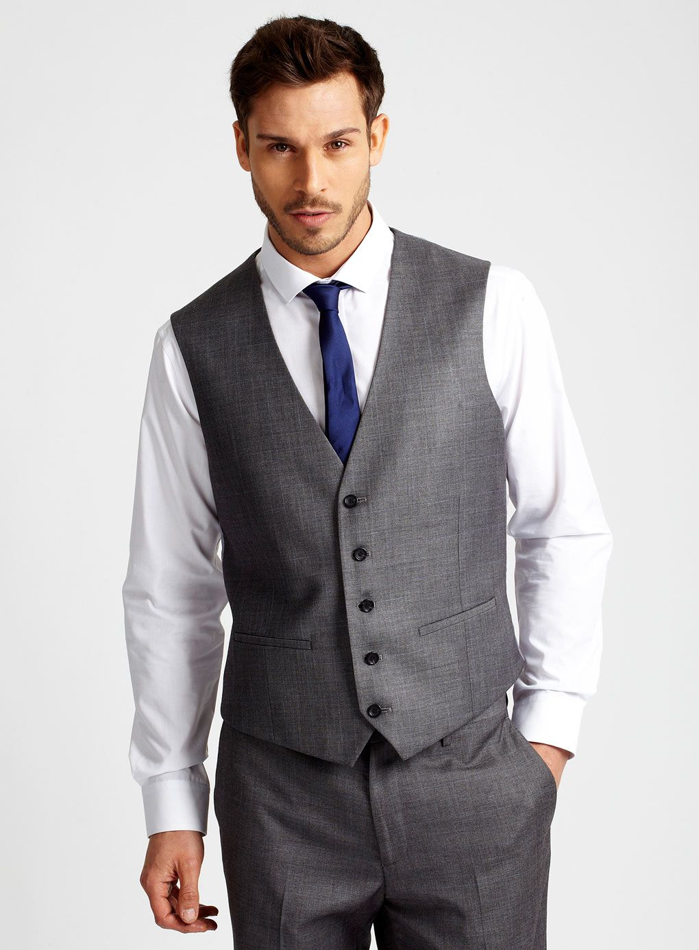 4084517d5ff8 Grey Prince of Wales Check Suit with Waistcoat - Shop All Mens Sale - Sale  & Offers - Burton