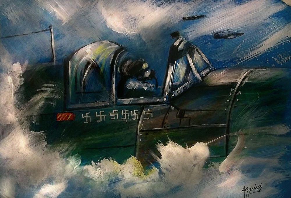 SPITFIRE RAF ACES HIGH ACRYLIC PAINTING BLACKSUN13R