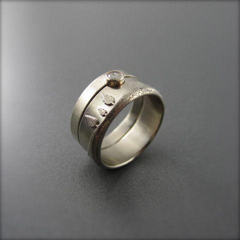 9mm 14K Palladium White Gold Textured Conifer Engagement Ring and Wedd – Beth Millner Jewelry