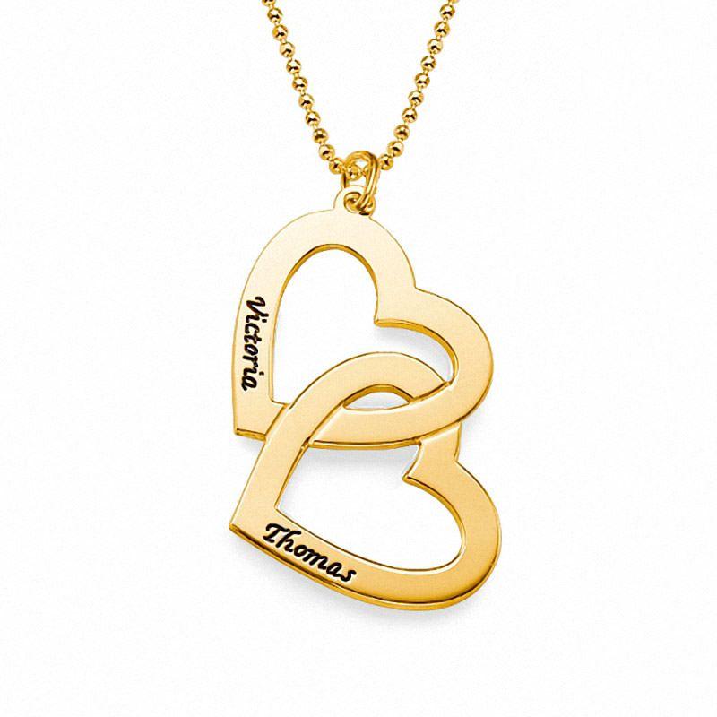 57478eacad2a Collar de Plata con baño de Oro Corazones enlazados modelo Juliette. Collar  Doble Corazón de