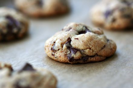 Gluten-free, Soy-free, Dairy-free, Flour-less, freshly baked peanut butter chocolate chunk COOKIES! Sucranat sweetened.  Enjoy Life brand Chocolate Chunks