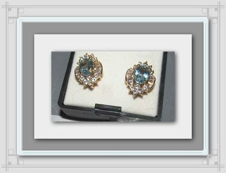 14K Gold Plated Real Natural Blue Topaz by ChristisClosetMB