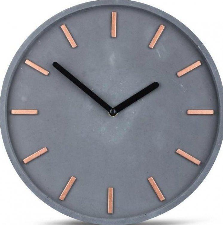 Hochwertige Beton Uhr Wanduhr 30cm Grau Kupfer Uhrzeit Modern Wanddeko Gartendesign Garten Moderngarten Wall Clock Modern Wall Decor Clock