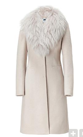 Blumarine Sand Coat with Removable Raccon Fur Collar
