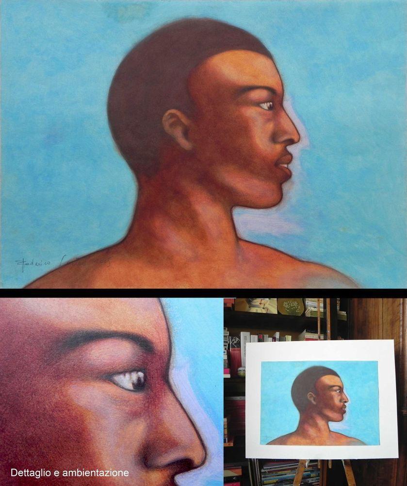 DIPINTO AD OLIO SU CARTA. Oil painting on paper. Home decor. Ritratto, portrait