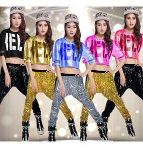 Black Gold Yellow Sequined Long Sleeves Women S Girls School Play Performance Hip Hop Modern Dance Jazz Dance Costumes Outfits Cute Dance Costumes Girls Dance Outfits Dance Outfits