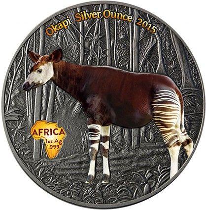 Kongo 1000 Francs 2015 Antique Finish Okapi Silver Ounce