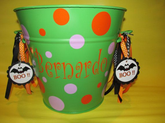 Halloween Basket Vinyl Personalized Easter Bucket by MACCcreations