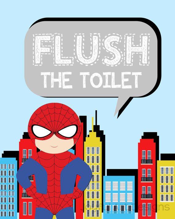 Superhero Bathroom Signs Spiderman Superman Captain America Batman Superheroes Flush Wash Hang Brush