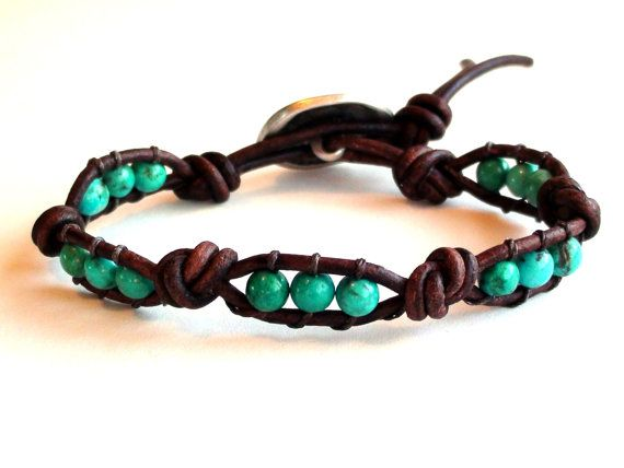 Leather and Turquoise Bracelet Knots by TaphiaDesigns