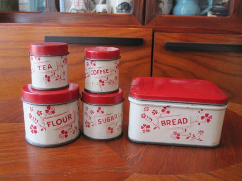 Vintage 1920 S Childs Tin Six Piece Canister Set