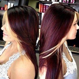 Burgundy With Blonde Bangs Fashion Darling Hair Styles Burgundy Hair Mahogany Hair