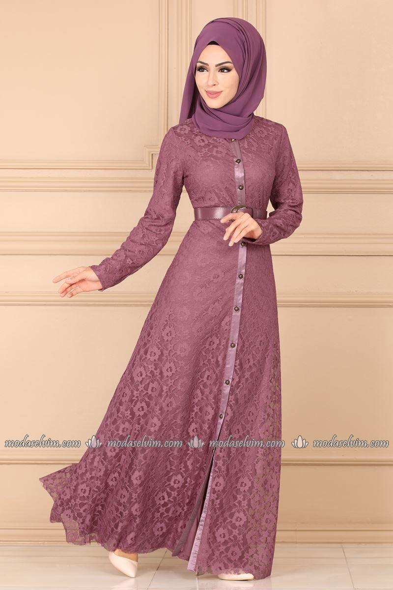 Moda Selvim Dantelli Tesettur Elbise 5200ay342 Gul Kurusu Elbise Moda