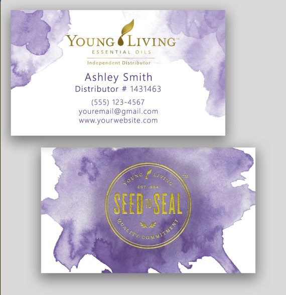 watercolor gold foil young living essential oils business cards by
