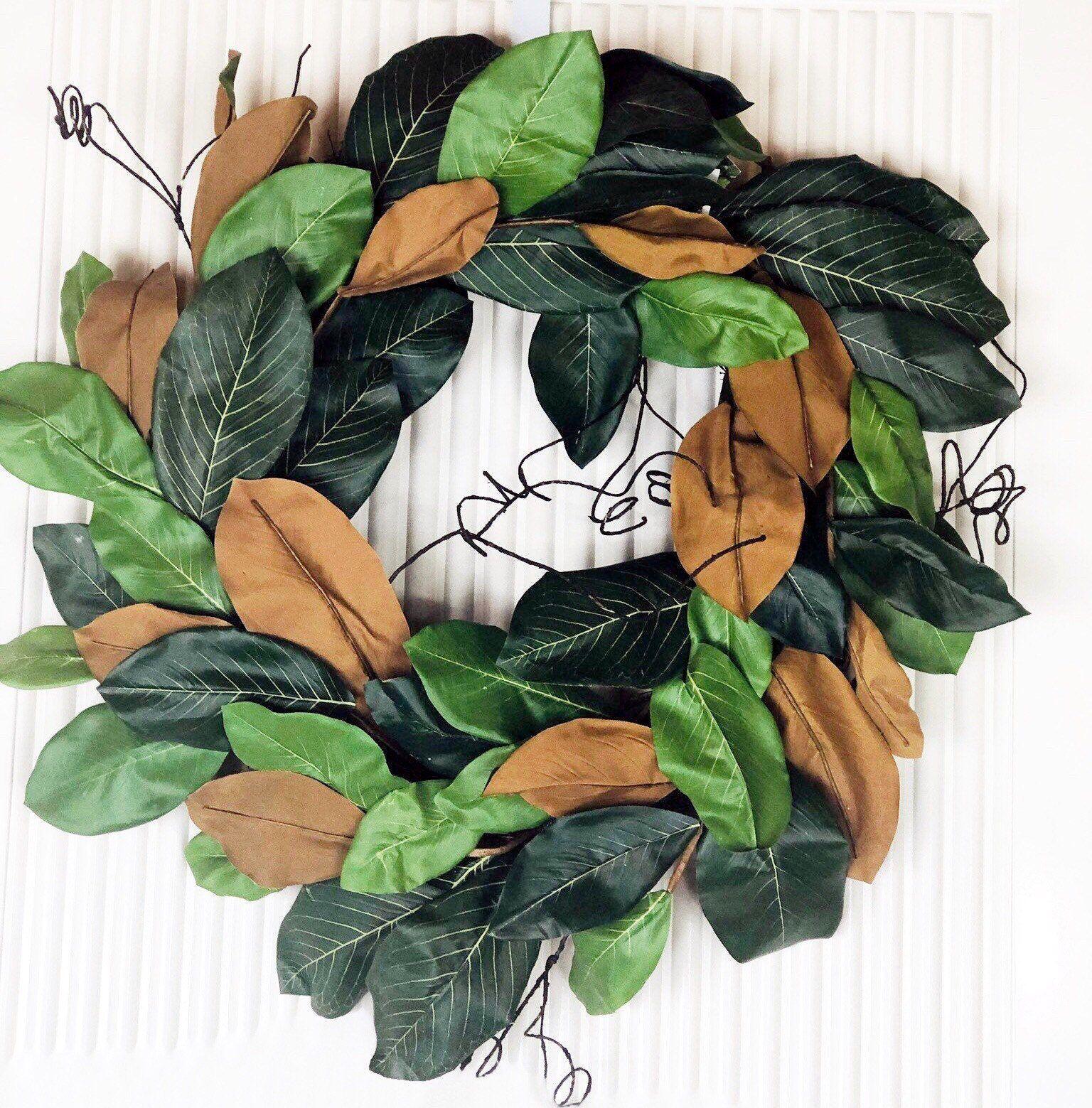 Photo of Haustürkränze, realistischer Magnolienkranz, Magnolienblattkranz, volle Magnolienkränze, ganzjährige Magnolienkränze, Magnolienkränze