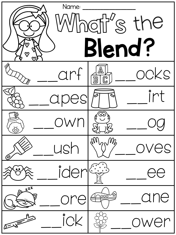 Blends Worksheets - S Blends [ 3000 x 2250 Pixel ]