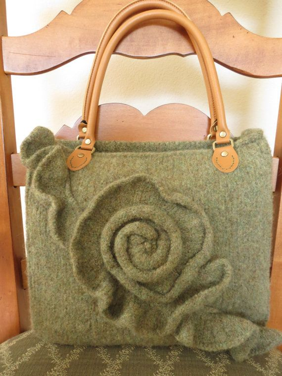 Felted Purse Pattern, Knit Bag Pattern, Felted Purse,  Knitting Pattern - Green Rose - Knitting Patterns by Deborah O'Leary