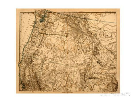 Old Map Of The Us Pacific Northwest Art by Tektite at AllPosters.com