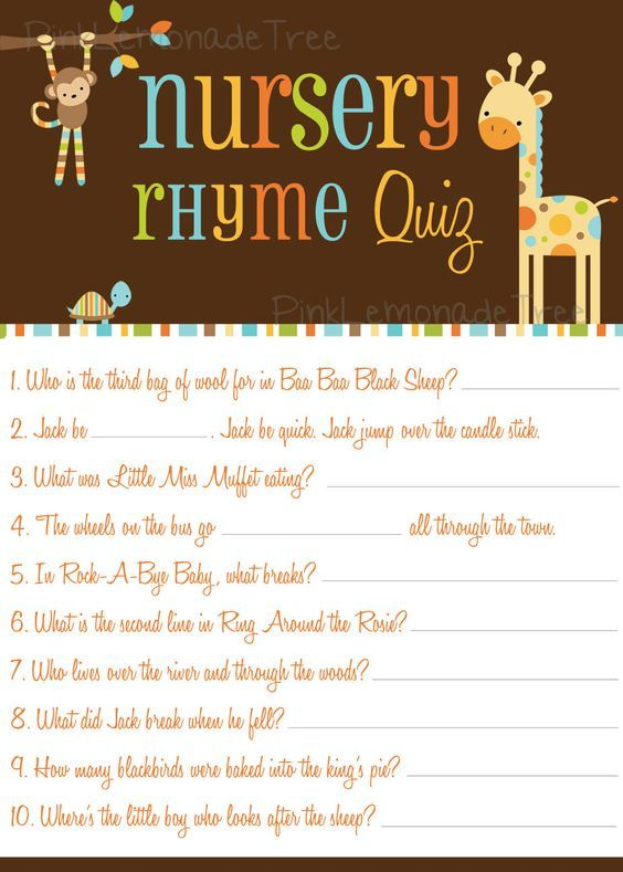 Safari Animals Nursery Rhyme Quiz Instant Animal Baby Shower