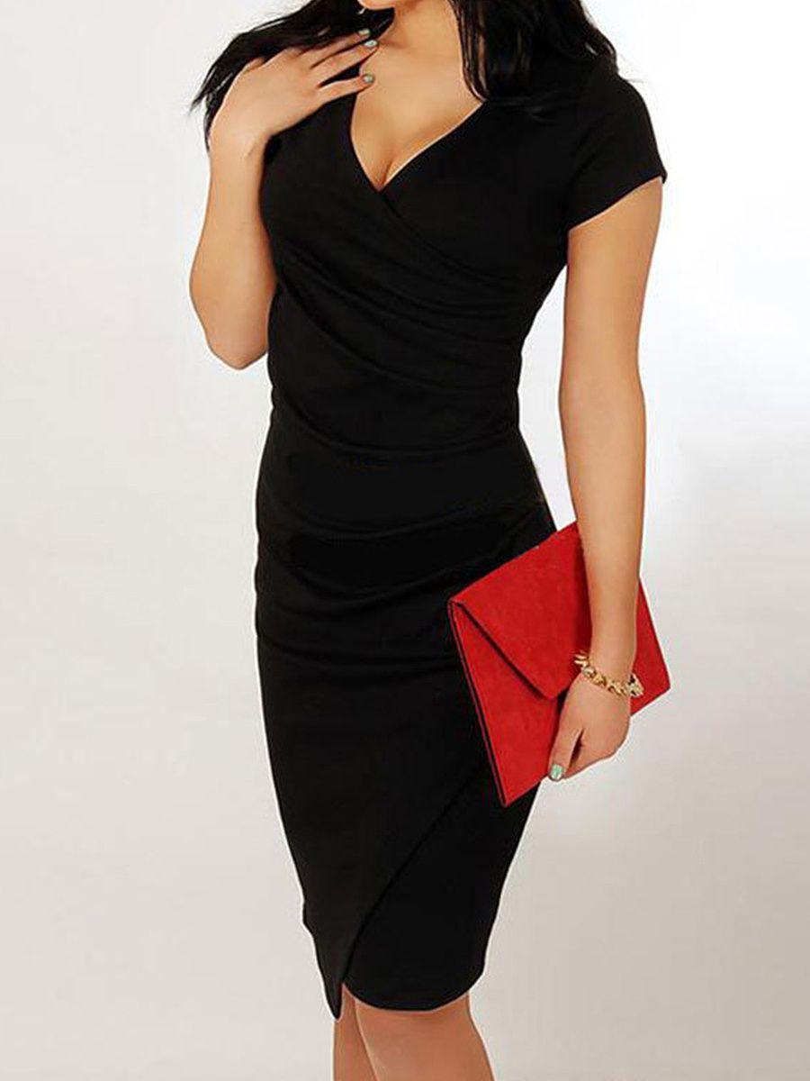 484e79a683 V Neck Asymmetric Hem Plain Bodycon Dress  sheinstreet  black
