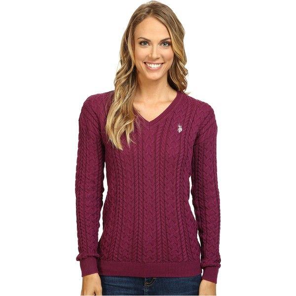 U.S. POLO ASSN. Solid V-Neck Cable Knit Sweater (Merlot Combo) Women's... ($26) ❤ liked on Polyvore featuring tops, sweaters, burgundy, v-neck sweater, burgundy cable knit sweater, long sleeve sweater, polo cable knit sweater and cable-knit sweater