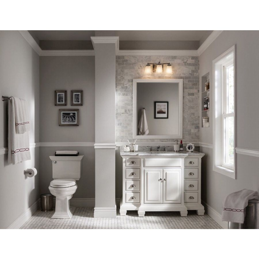 Gallery For Photographers Shop allen roth Vanover White Undermount Single Sink Bathroom Vanity with Natural Marble Top