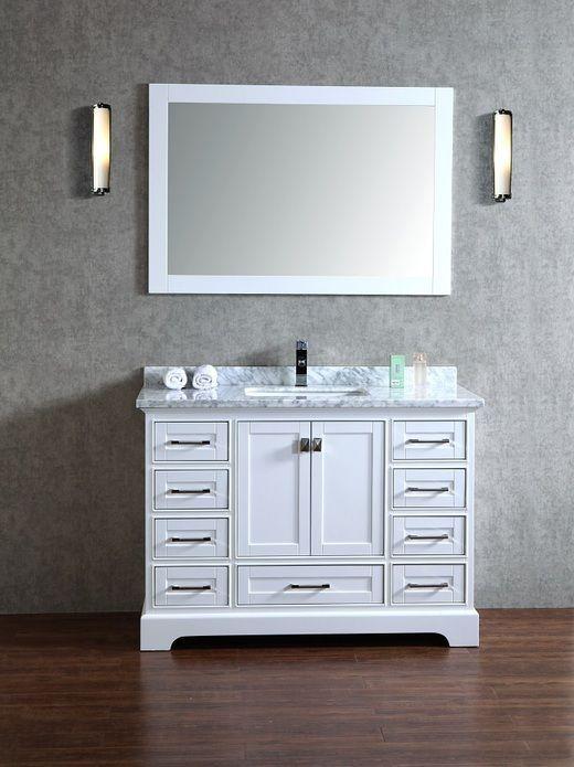 Stufurhome Chanel White 48 inch Single Sink Bathroom Vanity with