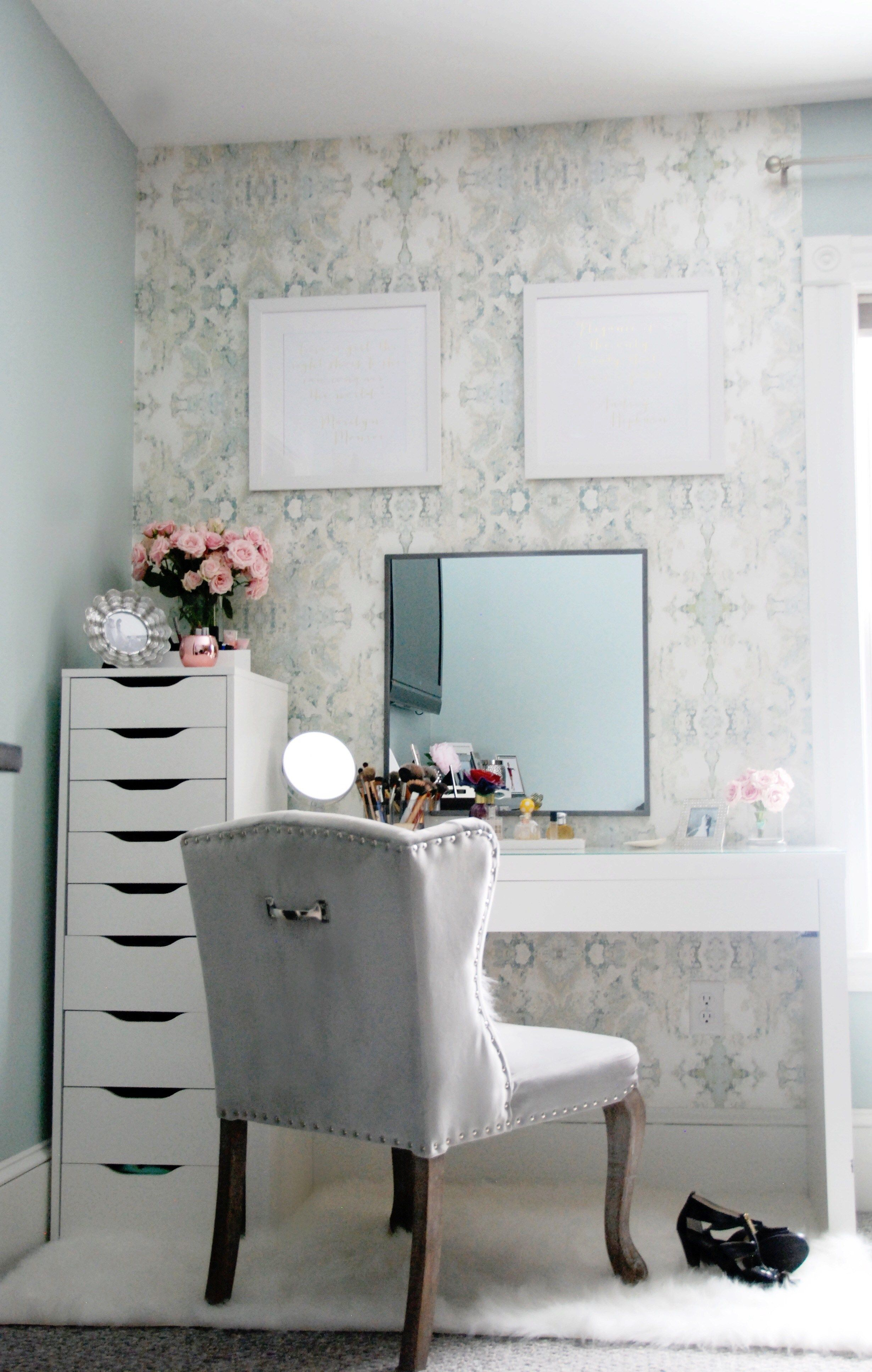 Beauty Vanity Beauty Vanity Area Tour With Anthropologie Wallpaper And