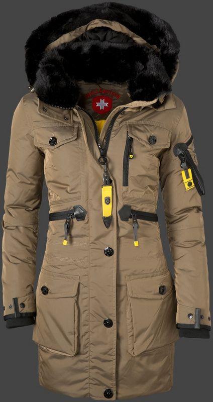 2015 Wellensteyn Falcon Dames Parka Bruin Lang Bont Capuchon Dons Winterjas Jackets Winter Jackets Outerwear Shop