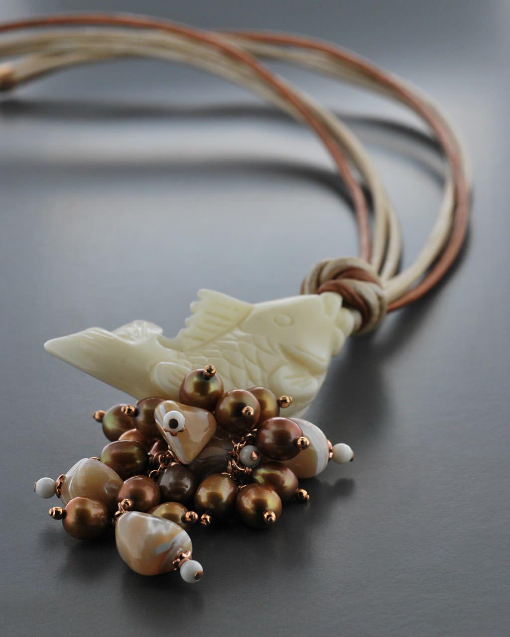 Κολιέ ασημένιο 925 με Ελεφαντόδοντο & Μαργαριτάρια