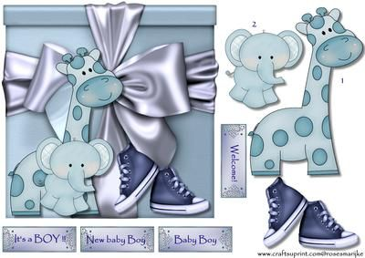 Special Gift It s a BOY on Craftsuprint designed by Marijke Kok - Cute card for a new baby boy - Now available for download!
