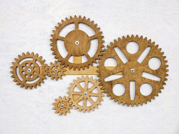 Mechanical Wall Art Kinetic Wall Art Decor Rotating Wooden Gears Wall Decor Sculpture Steampunk Wall Decor Wooden Gears Wall Sculptures Art Decor