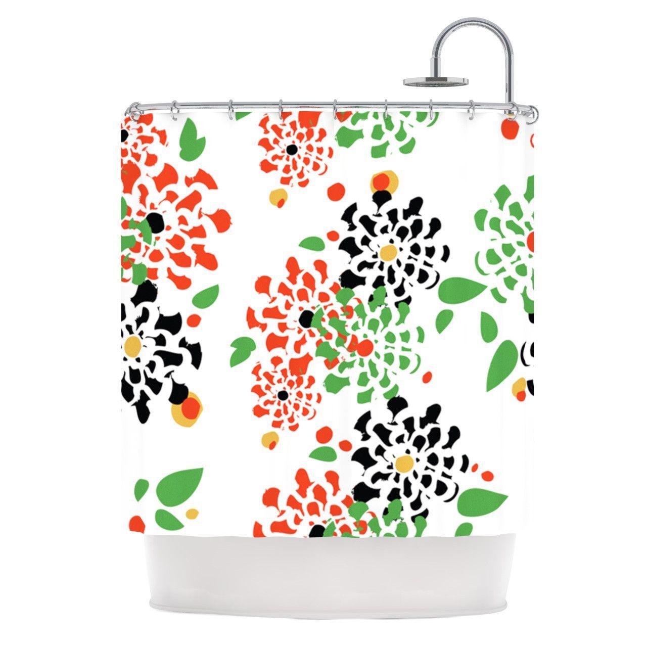 "Sonal Nathwani ""Multi Bouquet"" Orange Green Shower Curtain"